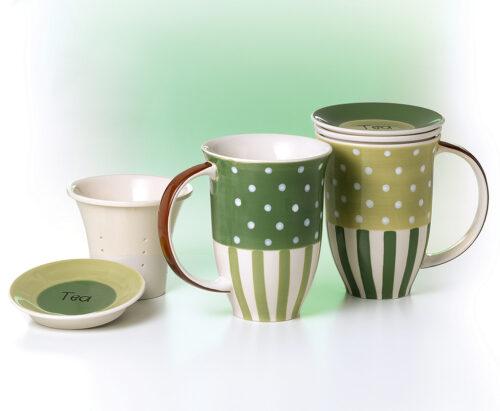 Vintage zöld teás bögre szett kerámia teaszűrővel és fedővel