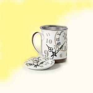 Teás év kávés bögre órás mintával, teaszűrővel és fedővel