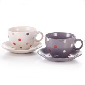 Pöttyös teás, cappuccinos csésze szett alátéttel, 2 darabos