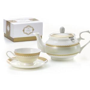 Exkluzív kínai csontporcelán (fine bone China) 7 részes teás csésze szett alátéttel, teáskannával