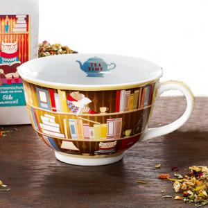Könyvespolcos óriás teás csésze diákoknak