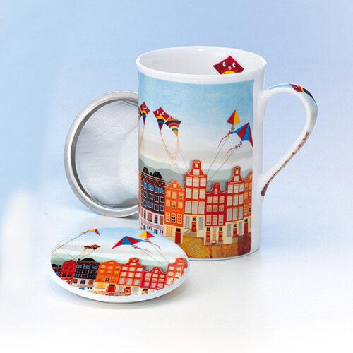 Papírsárkányos teás bögre teaszűrővel, fedővel, norvég házsorral