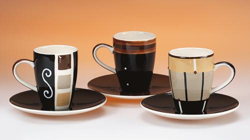 Kávés csésze szett férfiaknak absztrakt mintákkal