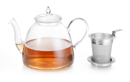 Vékony nyakú üveg teás kancsó fém teaszűrővel szettben