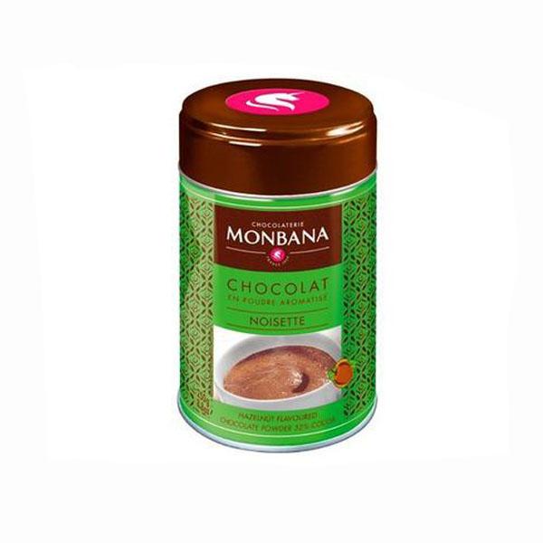 Monbana mogyorós csokoládé italpor forrócsokinak vagy jégkockákkal, hűsítő csokoládé italnak forró csoki forró csokoládé