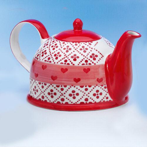 Romantikus piros mintás nagy űrtartalmú kerámia teáskanna