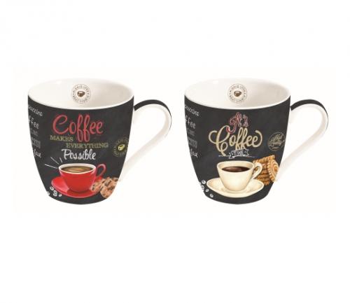 Színes porcelán Coffee time kávés bögre szett 2 darab