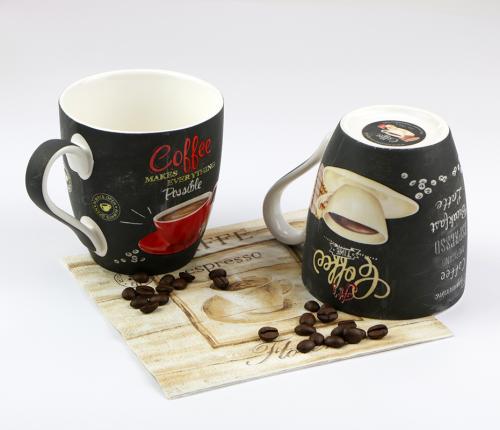 Színes porcelán Coffee time kávés bögre szett 2 darab cappuccino csésze retro kávés csésze