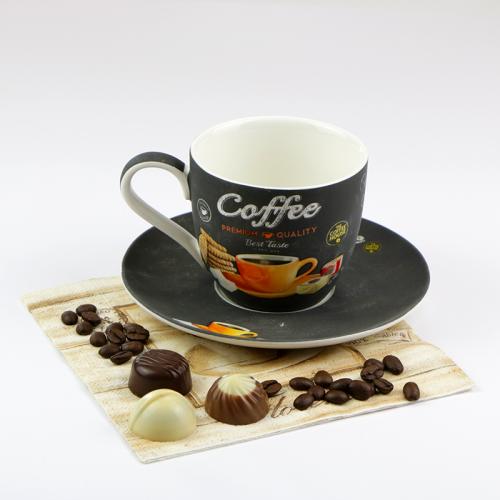 COFFEE TIME Porcelán Cappuccino csésze + alj 25 cl espresso csésze retro kávés csésze