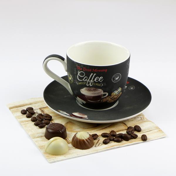 COFFEE TIME Porcelán Cappuccino csésze + alj 25 cl