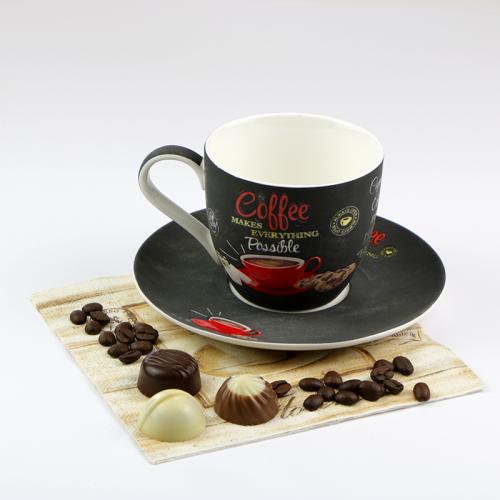 COFFEE TIME cappucciono csésze + alj 25 cl espresso csésze retro kávés csésze