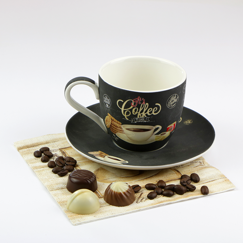 COFFEE TIME Porcelán Cappuccino csésze + alj 25 cl espresso csésze retro barna kávés csésze