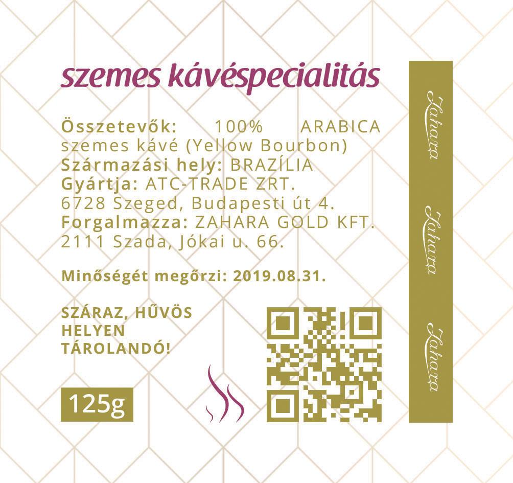 Zahara Brazília kézműves single origin szemes kávé