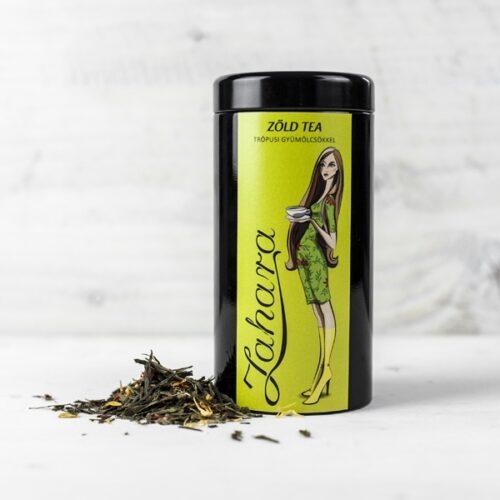 Zahara zöld tea keverék trópusi gyümölcsökkel díszdobozban