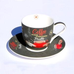 espresso csésze retro piros mintás kávés csésze cappuccino csésze