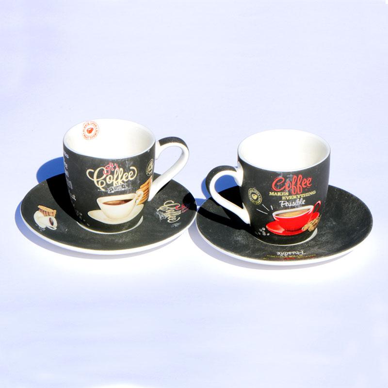 Színes porcelán Coffee time kávés bögre szett 2 darab retro kávés csésze