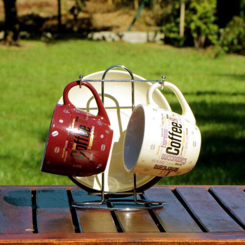 kávés bögre szett fehér bordó kávés csésze szett cappuccino csésze