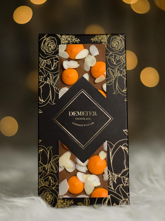 mandula_narancs táblás tejcsokoládé kézműves csokoládé kézműves csoki