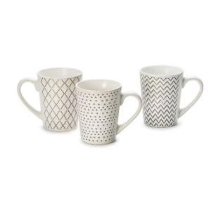 Kávés bögre szett ezüst mintázattal