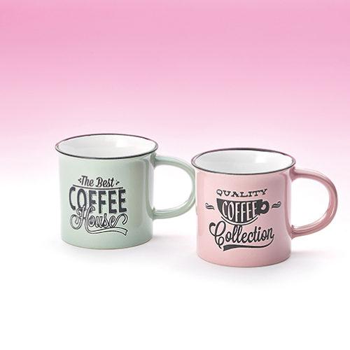 Fém hatású retro kávés bögre