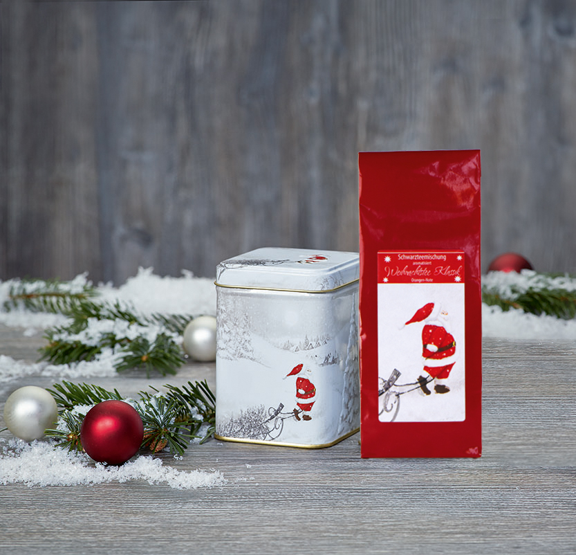 Mikulás csomag szálas tea keverékkel és teadobozzal - piros