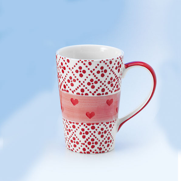 Romantikus, csajos teás, kávés bögre - piros