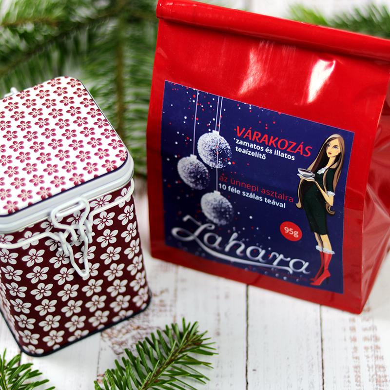Várakozás karácsonyi tea válogatás csomag és teadoboz gasztroajándék csomag