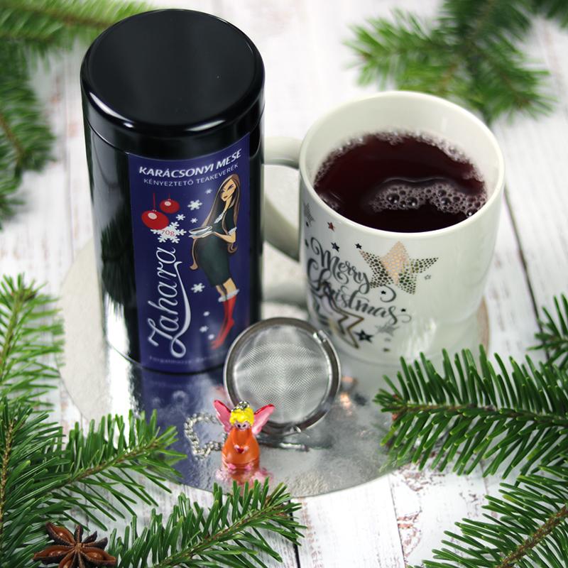 Karácsonyi forralt boros gyümölcs tea teadobozban, angyalkás teatojás és bögre