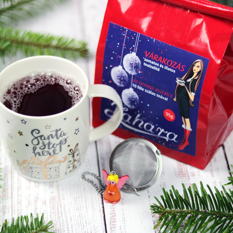 Várakozás karácsonyi szálas tea válogatás ajándékcsomag bögre és teatojás