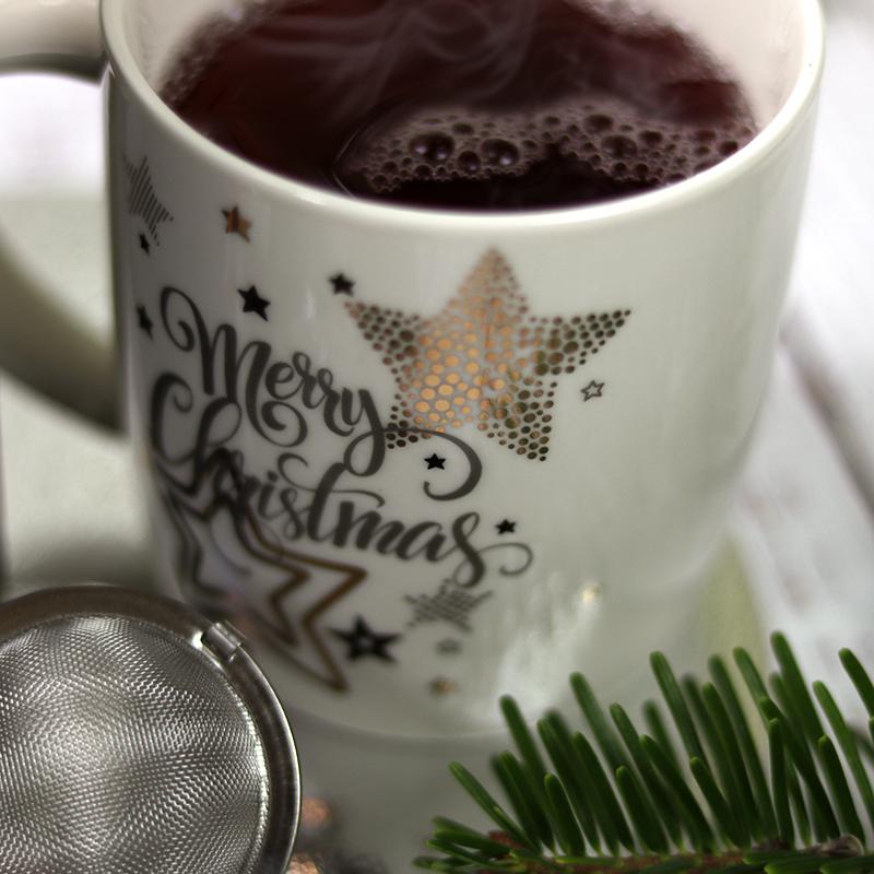 Karácsonyi bögre ajándék - csillagos - fehér kerámia