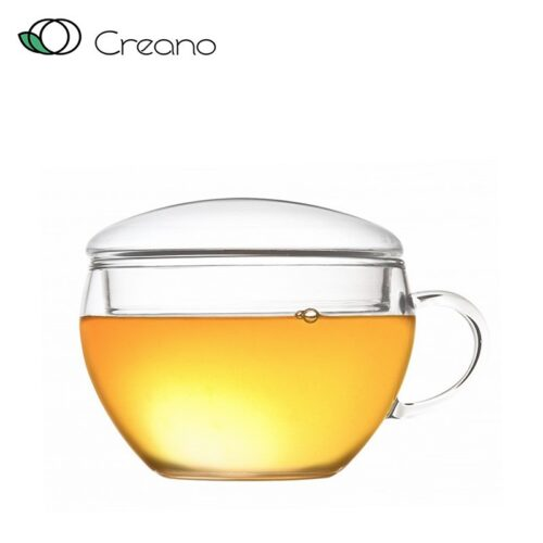 Üveg teáscsésze fedővel