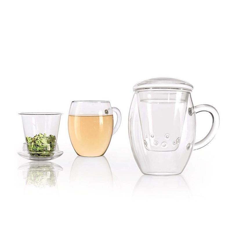 Üveg szűrős teáscsésze fedővel