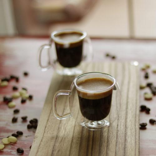Duplafalú hőálló üveg espresso kávéscsésze szett
