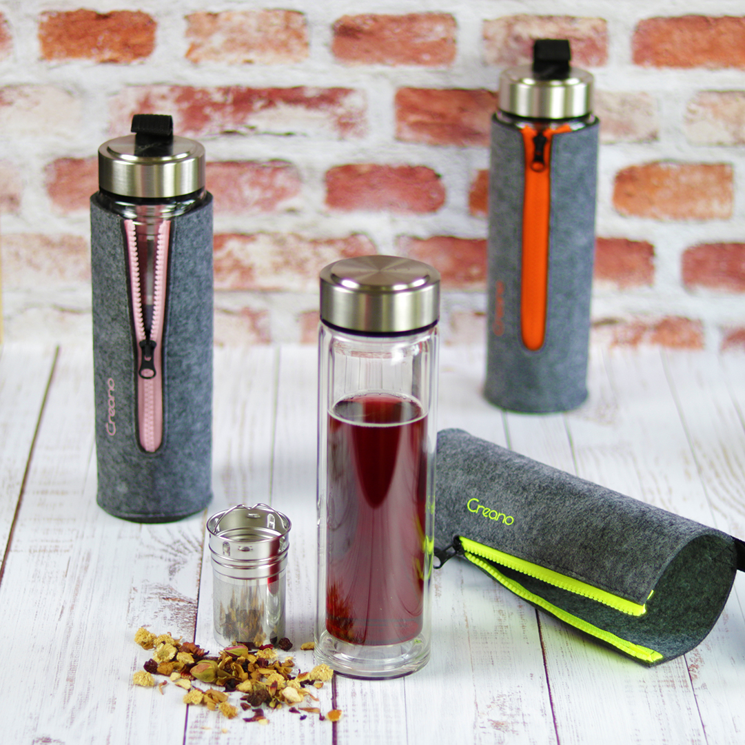 Duplafalú tea termosz kulacs szűrővel