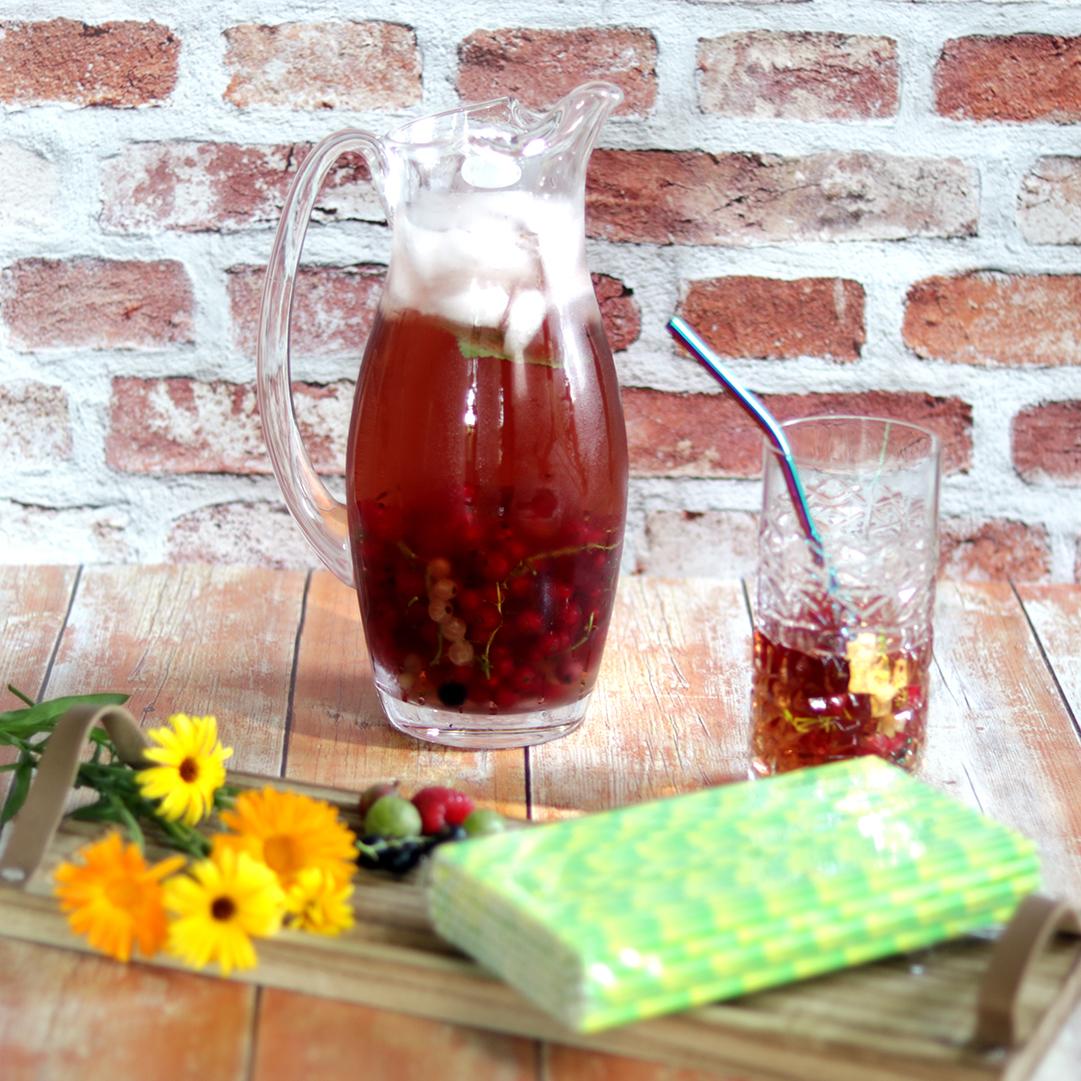 Üveg kancsó, környezetbarát szívószál, limonádés pohár