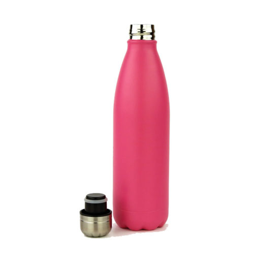 Rozsdamentes acél termosz kulacs - rózsaszín - 500 ml TRENDI, hordozható fém termosz kulacs. A DORAS saját gyártású, rózsaszín rozsdamentes acél termosz kulacsa