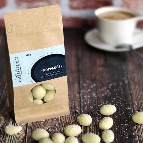 Zahara Roppanós csokidrazsé - kókuszos mandula tejcsokoládé köntösben - csokoládé ajándék - gasztroajándék