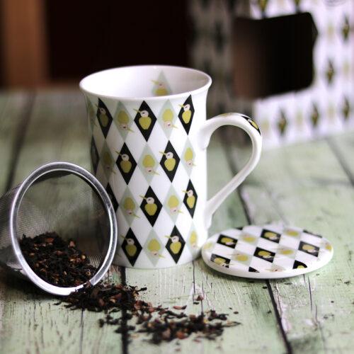 Retro rombusz mintás szűrős kerámia teás bögre - kávés bögre