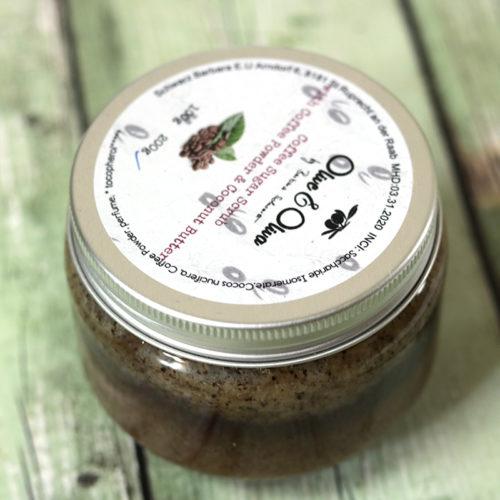 Kávés testradír - natúrkozmetikumok ajándékcsomag
