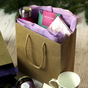 Zsinórfüles papír ajándéktasak - kraft barna