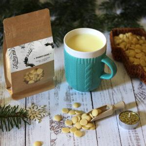 Karácsonyi forró csoki és kötött pulcsis bögre - világos pasztell kék teás, kávés bögre - karácsonyi bögre