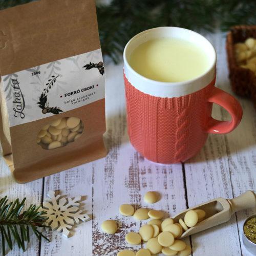 Karácsonyi forró csoki pasztilla és kötött pulcsis bögre - pasztell narancssárga teás, kávés bögre - karácsonyi bögre