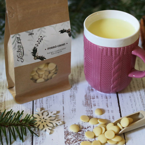 Karácsonyi forró csoki pasztilla és kötött pulcsis bögre - pasztell rózsaszín teás, kávés bögre - karácsonyi bögre