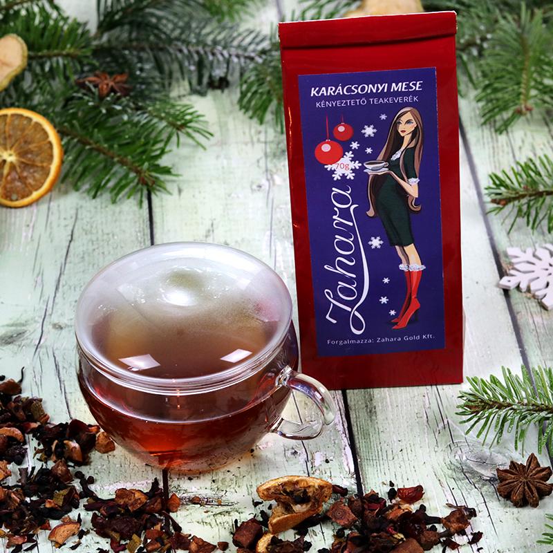 Karácsonyi gasztroajándék csomag - forralt boros gyümölcstea és üveg teáscsésze - tea ajándék