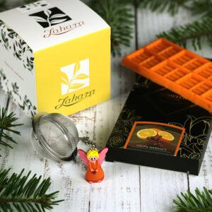 Karácsonyi gasztroajándék csomag - karácsonyi tea, narancsos kézműves csokoládé, angyalkás teatojás