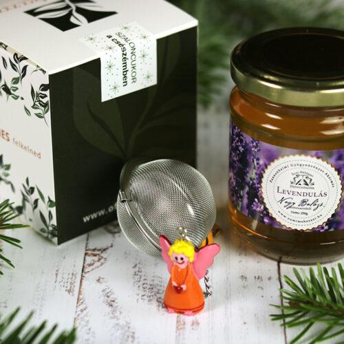 Karácsonyi tea válogatás, levendula méz és teatojás gasztroajándék csomag