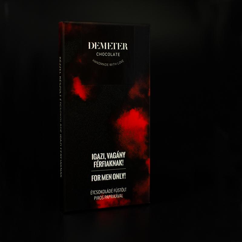 Kézműves étcsokoládé, csokoládé ajándék férfiaknak - füstölt paprikás - Demeter csoki
