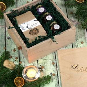 Karácsonyi forró csoki és méz válogatás fadobozos gasztroajándék csomag