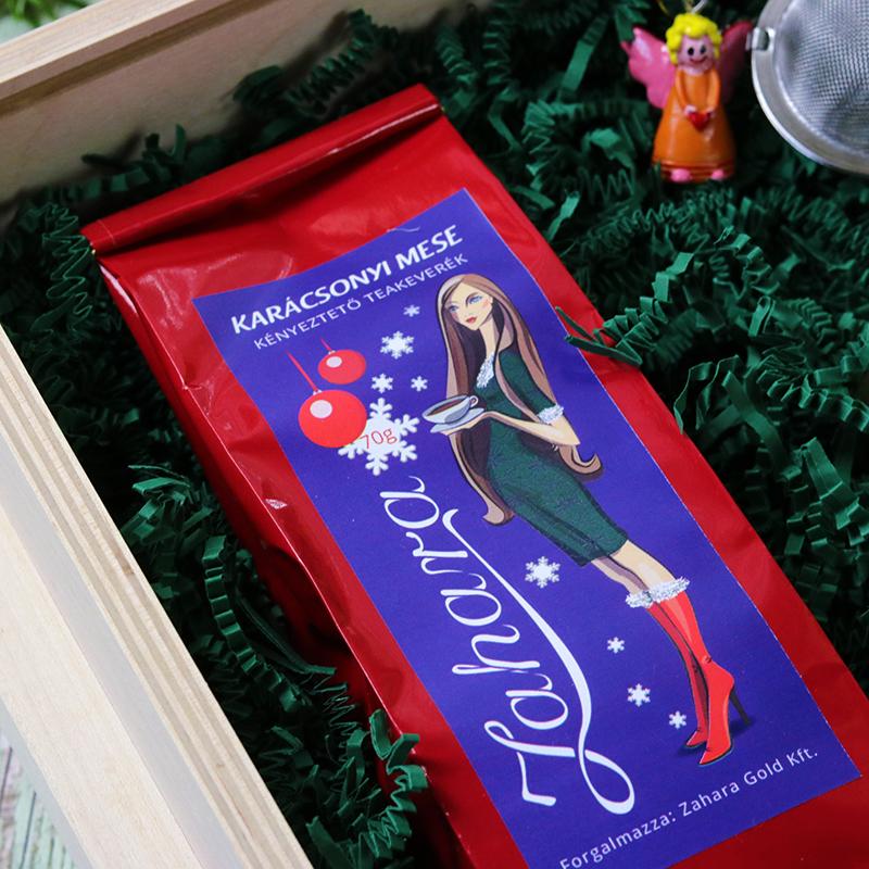 Karácsonyi fadobozos ajándék - gasztroajándék csomag - tea, méz és teatojás
