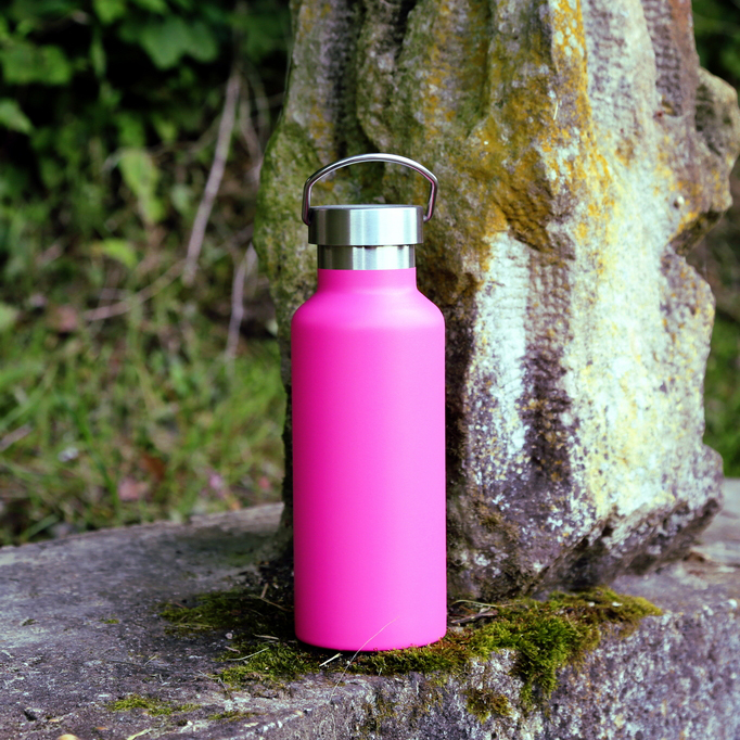 Retro rózsaszín rozsdamentes fém termosz kulacs - teás kávés termosz
